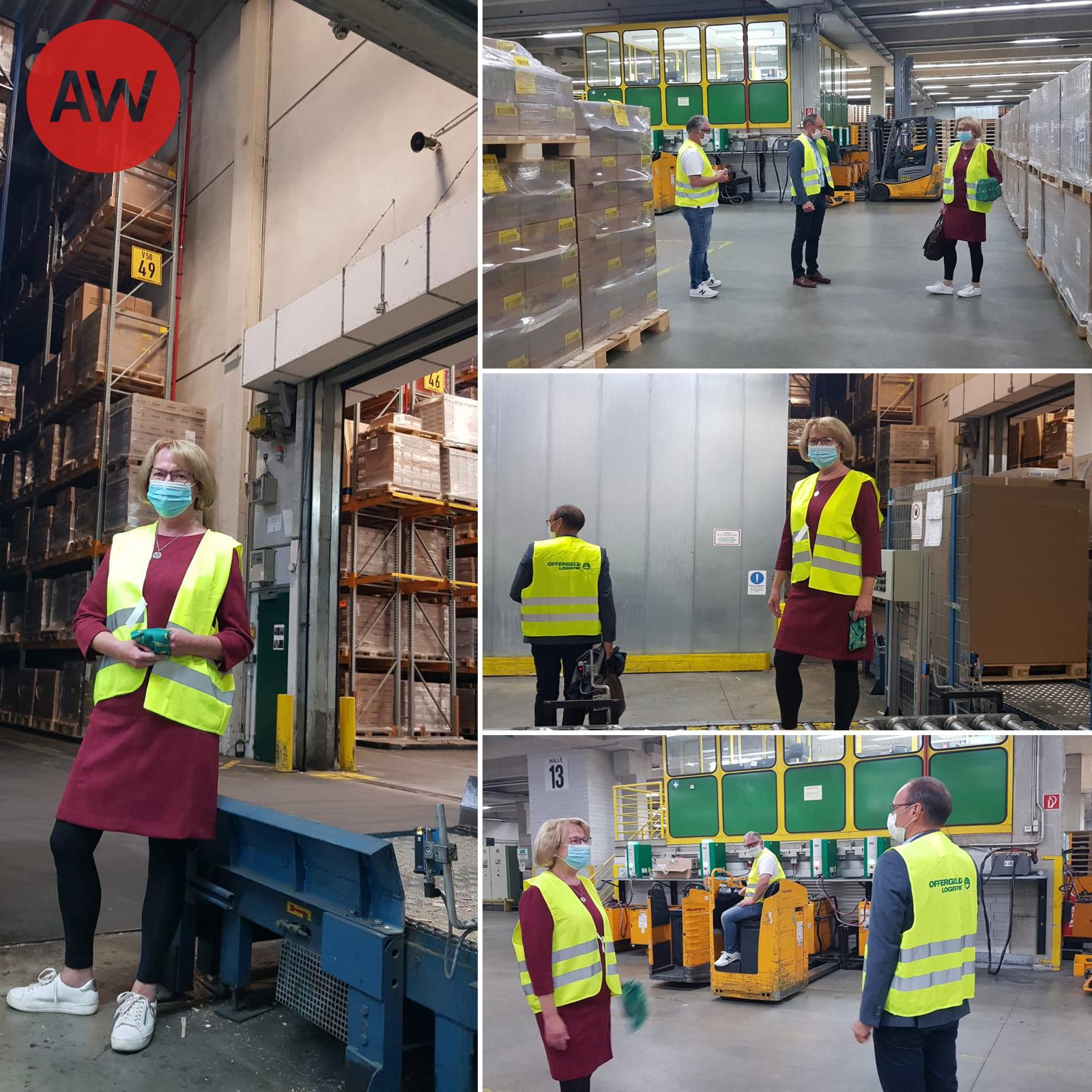 Anette Winkler zeigt sich tief beeindruckt beim Besuch der Firma Offergeld Logistik am Standort Aldenhoven